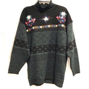 Vintage Obermeyer Nordic Ski Sweater Embroidered
